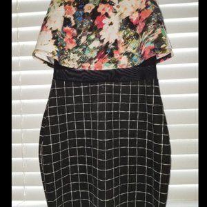 Floral crop top, over mesh waist, form fitting dre